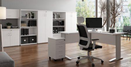 Mesa em L Uni branca, Mesa em L gerente, Mesa em L diretor