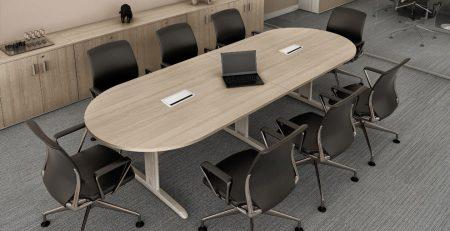 Mesa de Reunião Oval Rom com tomadas