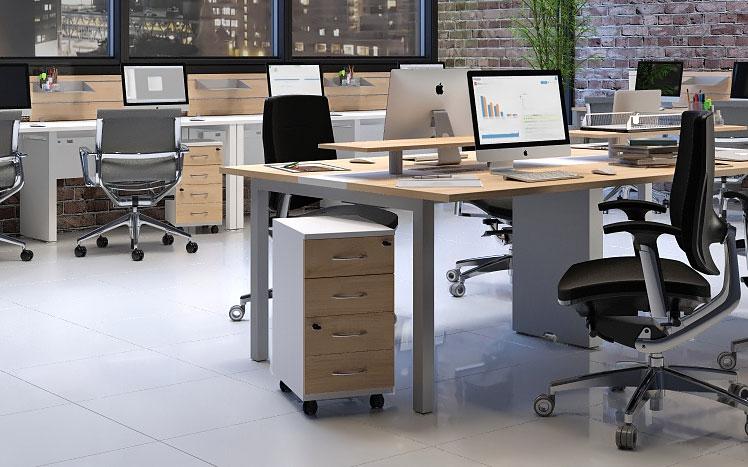 Mesa 4 Lugares com Gaveteiro - Destaque Mesas - Moveis para Escritorio SP