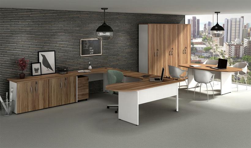 Mesa Diretor em C - Destaque - Moveis para Escritorio SP