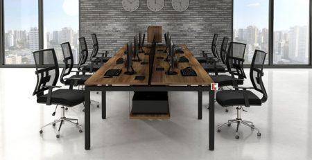Mesa Plataforma Amadeirada SP, Móveis para Escritório SP, Móveis Office SP