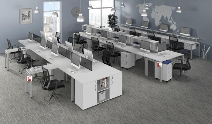 Mesa Plataforma Branca - Estações de Trabalho - Moveis para Escritorio SP