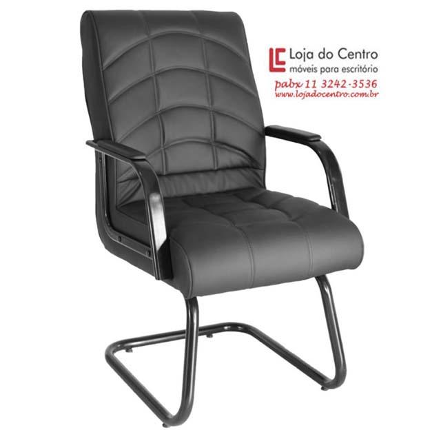 Cadeira Fixa Conforto Preta - Cadeira Fixa Visita - Moveis para Escritorio SP