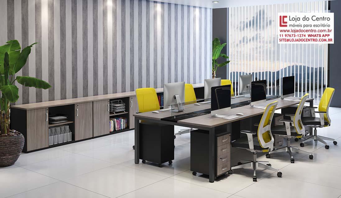 Estação de Trabalho 6 Lugares - Destaque - Moveis para Escritorio SP