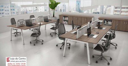 Estação de trabalho 4 lugares, mesa plataforma 4 lugares