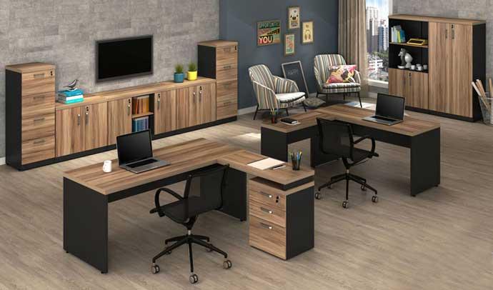 Mesa diretor 40mm tampo de vidro st gaveteiro acoplado for Mesa escritorio barata