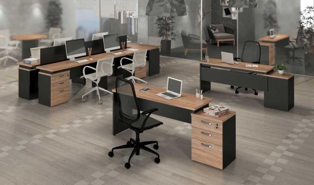 Mesa Para Computador Home Office Gaveteiro Pedestal